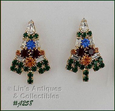 EISENBERG ICE SIGNED CANDLE TREE RHINESTONE PIERCED EARRINGS