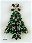 SIGNED EISENBERG ICE CHRISTMAS TREE PIN EMERALD AND CLEAR RHINESTONES