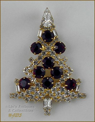 SIGNED EISENBERG ICE LARGE CANDLE TREE PIN CLEAR WITH RED RHINESTONES