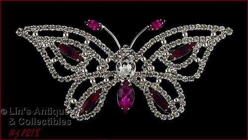 EISENBERG ICE SIGNED BUTTERFLY PIN PINK RED AND CLEAR RHINESTONES
