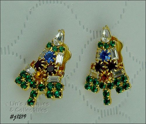 Signed Eisenberg Ice Candle Tree Christmas Earrings Clip Back