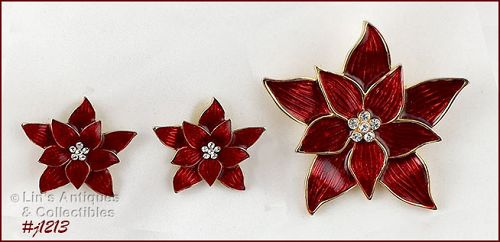 EISENBERG ICE SIGNED RED POINSETTIA PIN AND MATCHING PIERCED EARRINGS