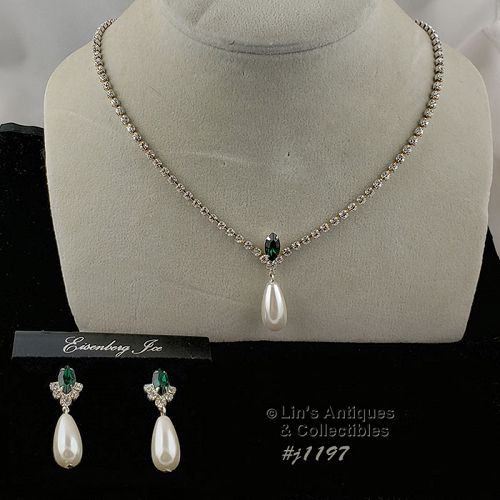 Eisenberg Ice Necklace and Earrings Green Rhinestone Faux Pearl