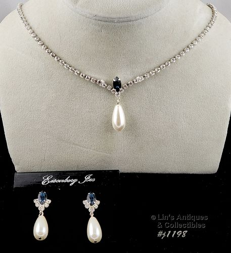 Eisenberg Ice Necklace and Earrings Blue Rhinestone Faux Pearl