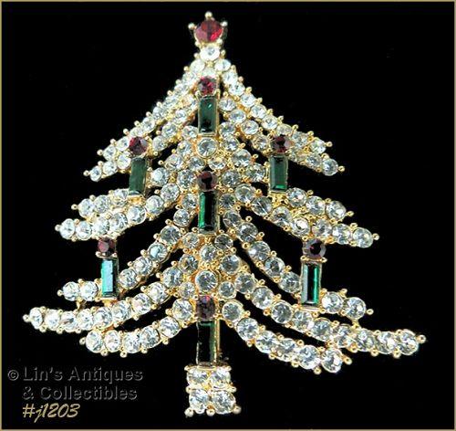 Eisenberg Ice Signed Candle Tree Christmas Pin