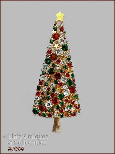 Signed Eisenberg Ice Skinny Christmas Tree Pin Rhinestones and Stars