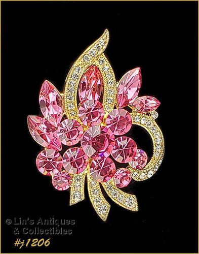 Eisenberg Ice Signed Brooch Pin Bright Pink and Clear Rhinestones