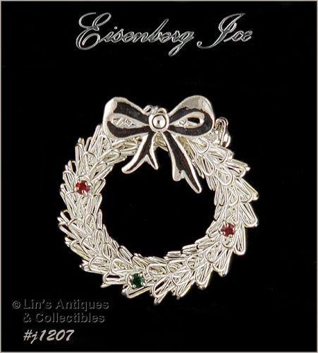 Eisenberg Ice Wreath Shape Pin Silver Tone with Rhinestone Accents