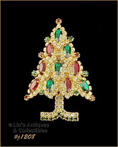 Signed Eisenberg Ice Christmas Tree Pin Red Green Rhinestones