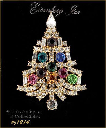 Eisenberg Ice Signed Candle Tree Christmas Pin Multi Color Rhinestones
