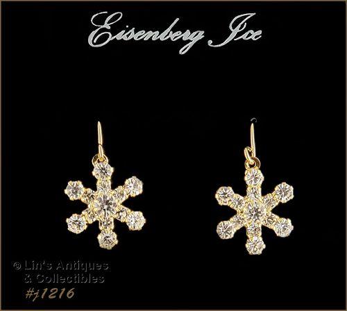 Eisenberg Ice Rhinestone Snow Flake Earrings Gold Tone Pierced Dangle