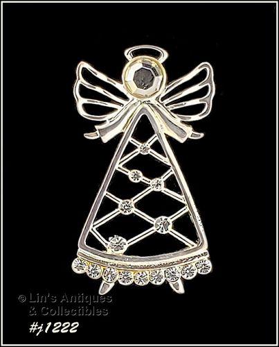 Eisenberg Ice Signed Angel Pin Silver Tone with Rhinestones