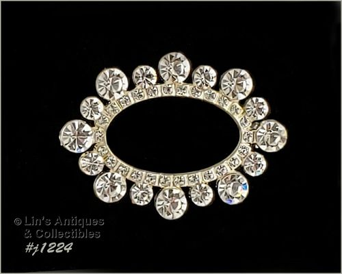 Vintage Clear Rhinestone Oval Shape Pin