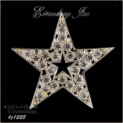 Signed Eisenberg Ice Star Pin Clear Rhinestones Silver Tone