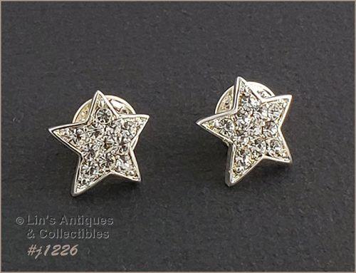 Eisenberg Ice Pair of Small Star Rhinestone Pins Tie Tack Style