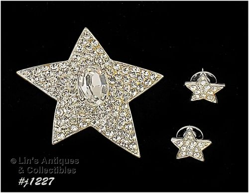 Eisenberg Ice Star Shape Pin and Earrings Clear Rhinestone Silver Tone