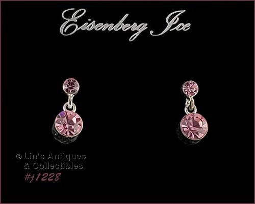EISENBERG PINK RHINESTONE EARRINGS SILVER TONE