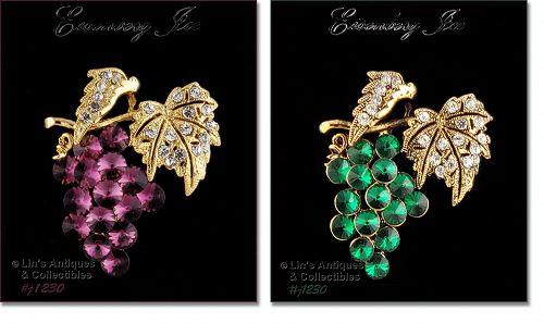 Eisenberg Ice Choice Purple Grape or Green Grape Cluster Pin