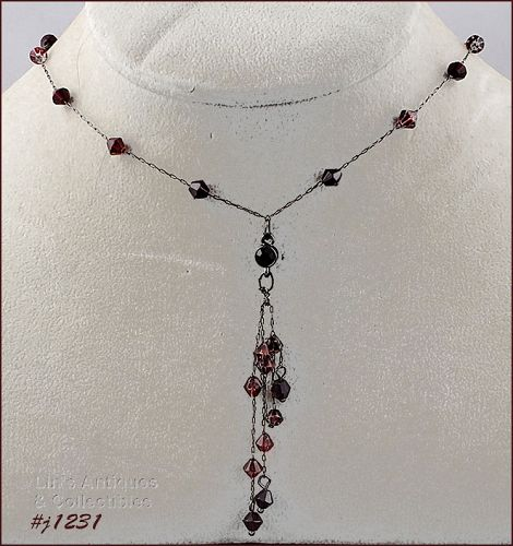 1928 Necklace with Dark Red Beads