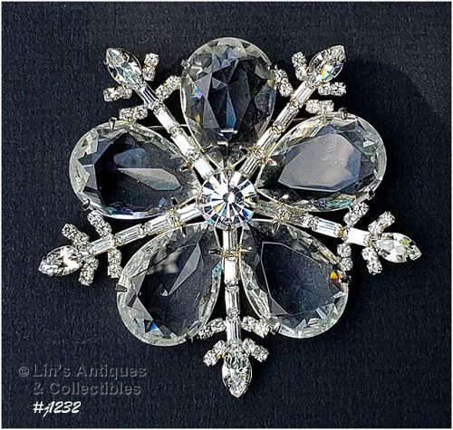 Signed Eisenberg Ice Large Snowflake Pin Clear Rhinestones Silver Tone