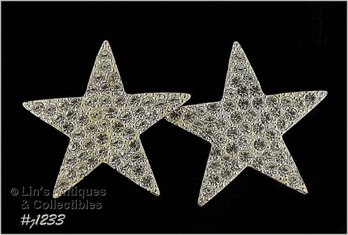 Signed Eisenberg Ice Star Earrings Clear Rhinestones Silver Tone