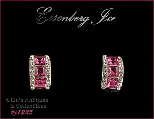 Eisenberg Ice Pink Rhinestones Hugger Style Earrings Half Hoops