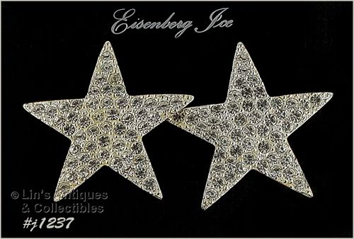 Eisenberg Ice Star Shape Earrings Clear Rhinestones Silver Tone