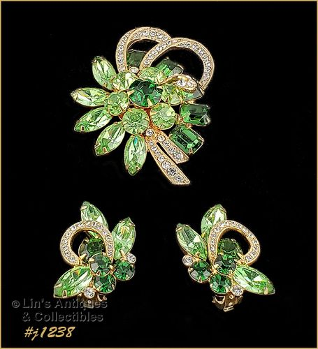 Signed Eisenberg Ice Pin and Earrings Shades of Green