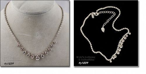 Eisenberg Ice Signed Necklace Clear Rhinestones Silver Tone