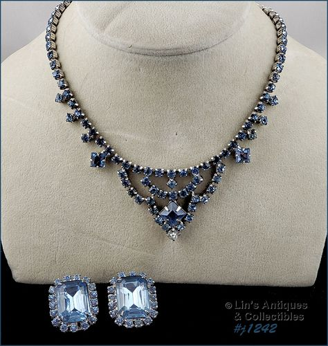 Vintage Rhinestone Necklace and Earrings Shades of Blue Silver Tone