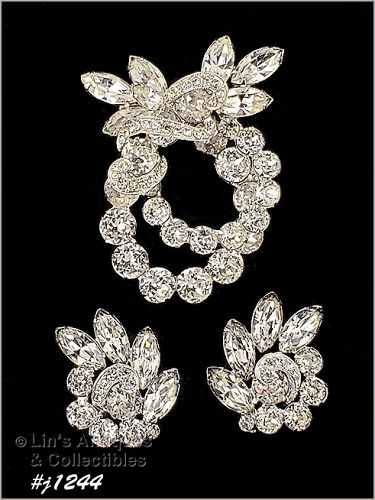 Signed Eisenberg Ice Clear Rhinesones Pin and Earrings Silver Tone
