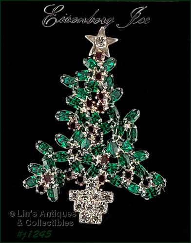 Eisenberg Ice Signed Christmas Tree Pin Green and Red Rhinestones
