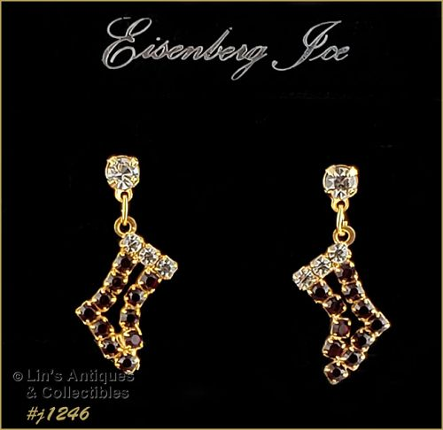 Eisenberg Ice Rhinestone Christmas Stocking Shape Earrings