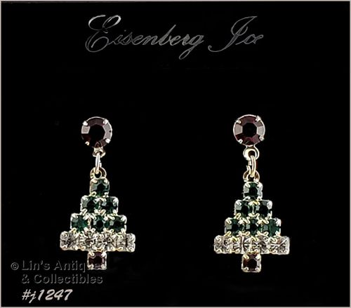 Eisenberg Ice Rhinestone Christmas Tree Earrings