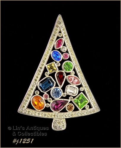 Eisenberg Ice Signed Christmas Tree Pin Multi Color Rhinestones