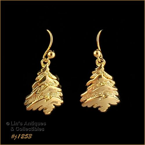 Signed Eisenberg Ice Christmas Tree Earrings Gold Tone