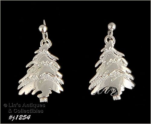 Signed Eisenberg Ice Christmas Tree Earrings Silver Tone