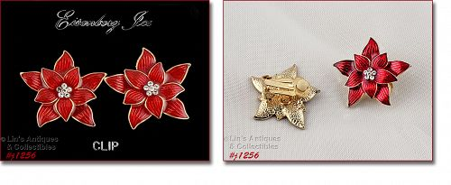 EISENBERG ICESIGNED  RED POINSETTIA CLIP BACK EARRINGS