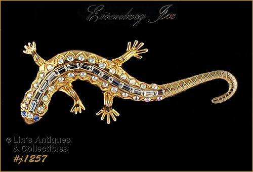 Signed Eisenberg Ice Lizard Shape Pin Gold Tone with Rhinestones