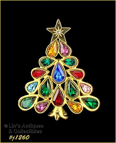 Eisenberg Ice Signed Christmas Tree Pin Pear Shape  Rhinestones