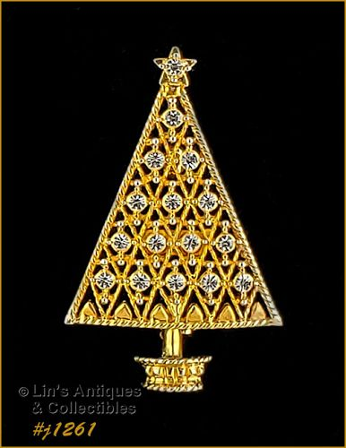 Eisenberg Ice Signed Christmas Tree Pin Gold Tone Clear Rhinestones