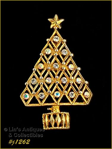 Eisenberg Ice Signed Christmas Tree Pin with Clear Rhinestones