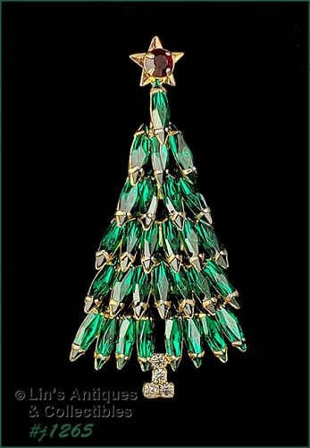 Eisenberg Ice Signed Christmas Tree Pin Green Marquise Rhinestones