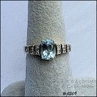 10k Yellow Gold Blue Topaz and Diamond Ring Size 7 1/4