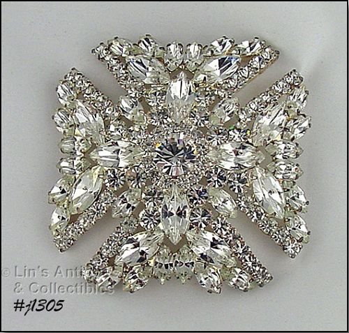 Signed Eisenberg Ice Maltese Cross Brooch Clear Rhinestones