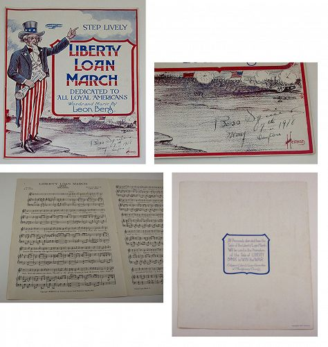 Vintage Sheet Music Liberty Loan March Dedicated to all Loyal American