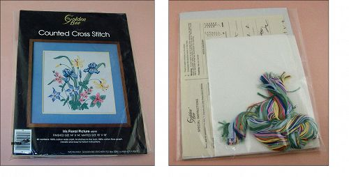 Iris Floral Picture Counted Cross Stitch Kit by Golden Bee