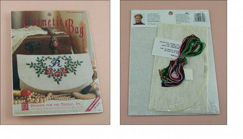 Monogram with Roses Counted Cross Stitch Cosmetic Bag Kit NOS
