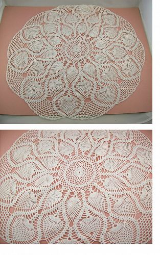 Large Table Top Vintage White Doily