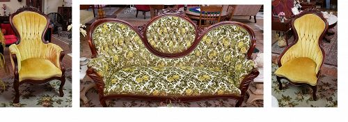 Kimball Victorian Reproductions Sofa Gentleman and Ladies Chairs